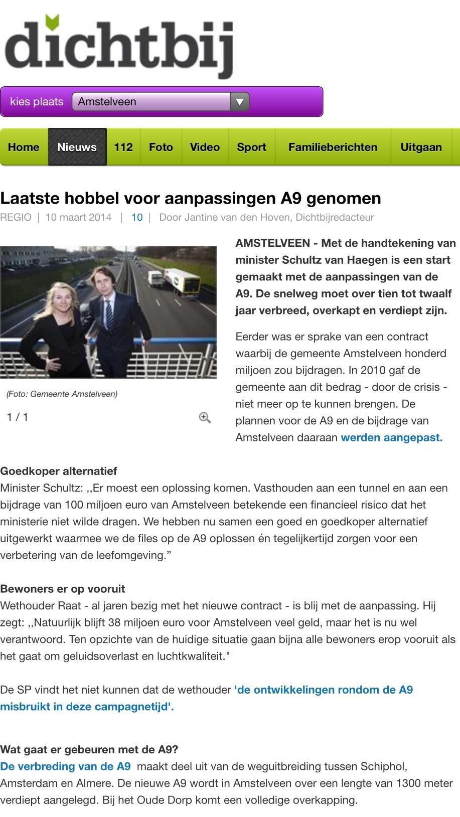 2014-10-3 AmstelveenDichtbij: Wethouder Herbert Raat en minister Melanie Schultz