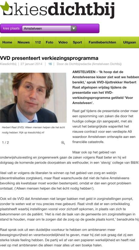 2014-27-1; AmstelveenDichtbij; Herbert Raat presenteert verkiezingsprogramma VVD Amstelveen