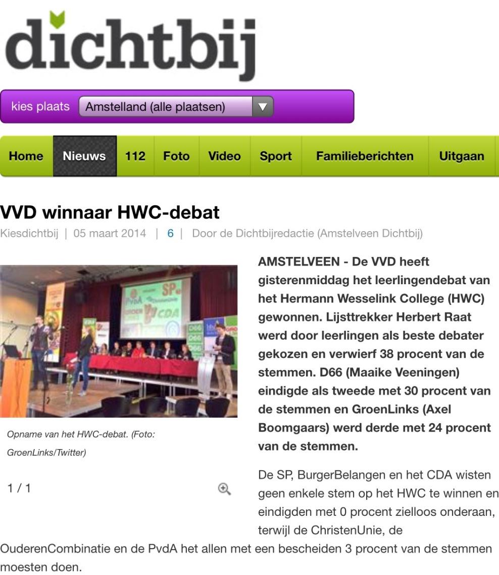 2014-5-3 Amstelveen Dichtbij.nl VVD-lijsttrekker Herbert Raat winnaar HWC debat