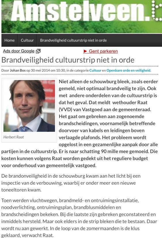 2014-30 mei; Herbert Raat over brandveiligheid cultuurstrip amstelveenblog.nl