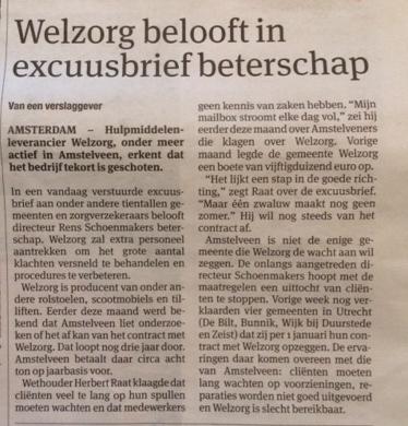 2014-23-6 Parool Excuus Welzorg aan Herbert Raat Amstelveen
