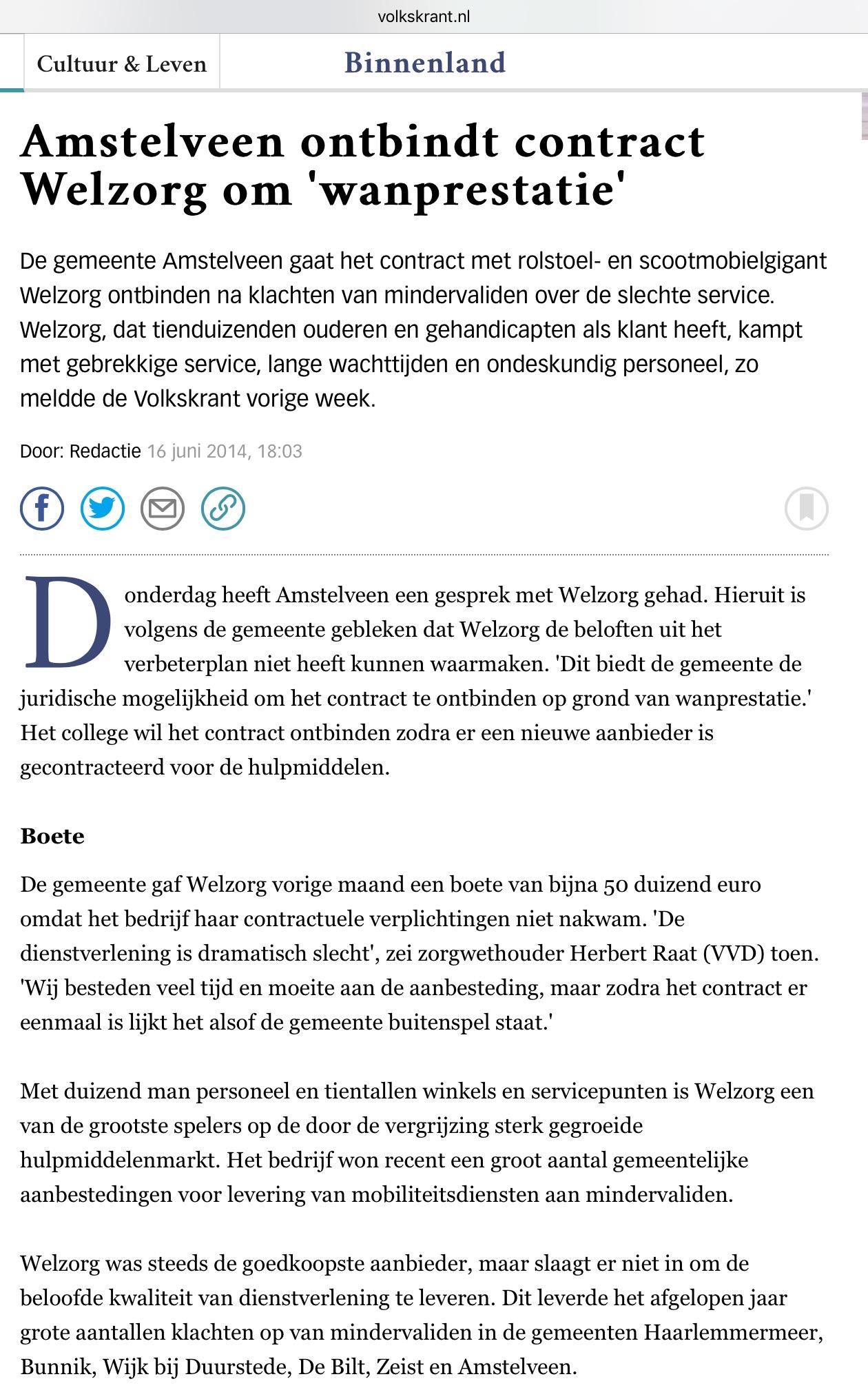 2015-16-6: De Volkskrant: wethouder Herbert Raat over wanprestatie Welzorg Amstelveen