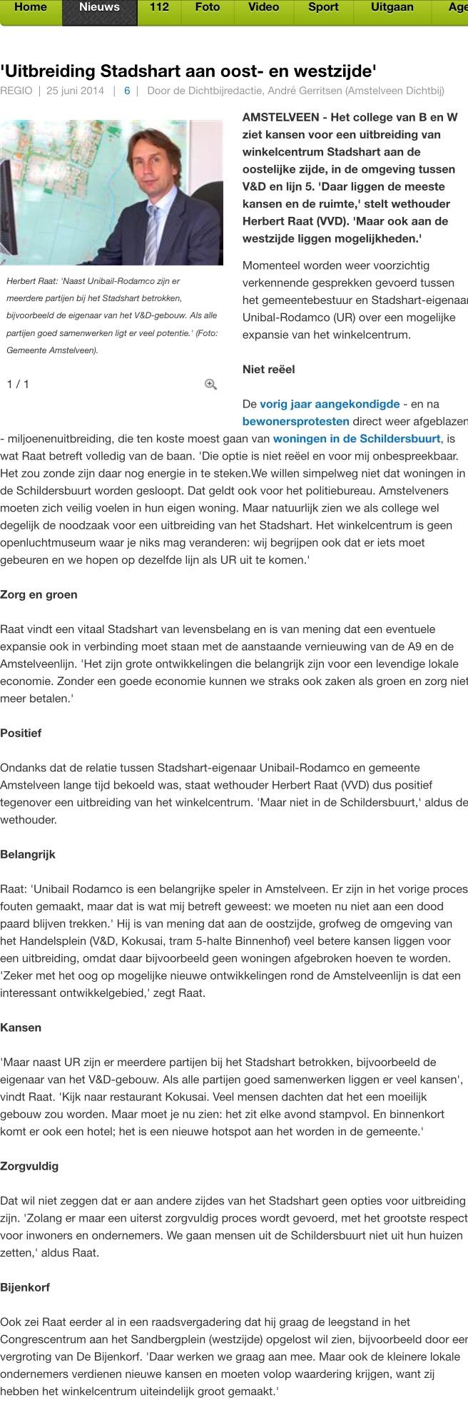 2014-25-6: AmstelveenDichtbij: wethouder Herbert Raat over uitbreiding Stadshart Amstelveen