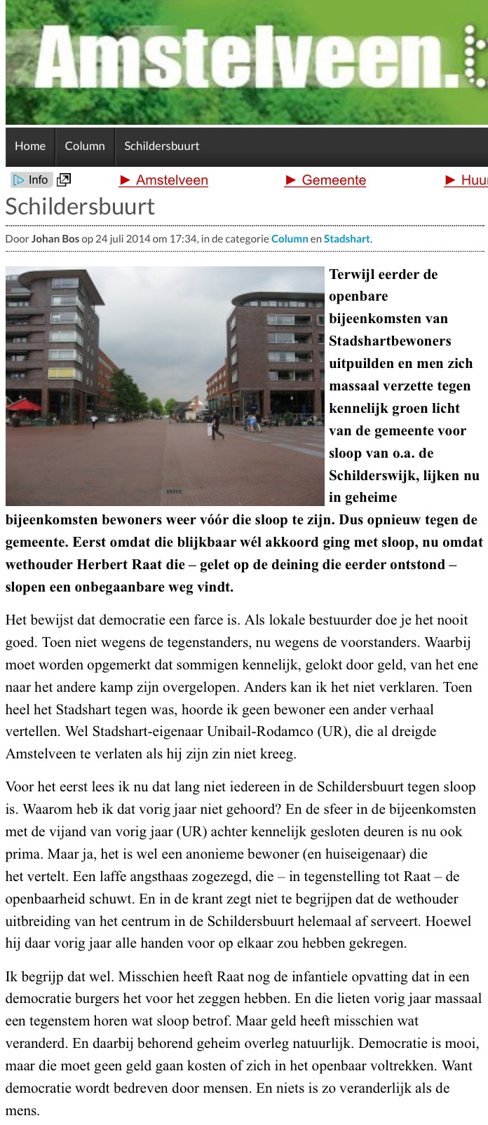 2014-24-6; AmstelveenBlog.nl: Column Johan Bos over Herbert Raat en de Schildersbuurt