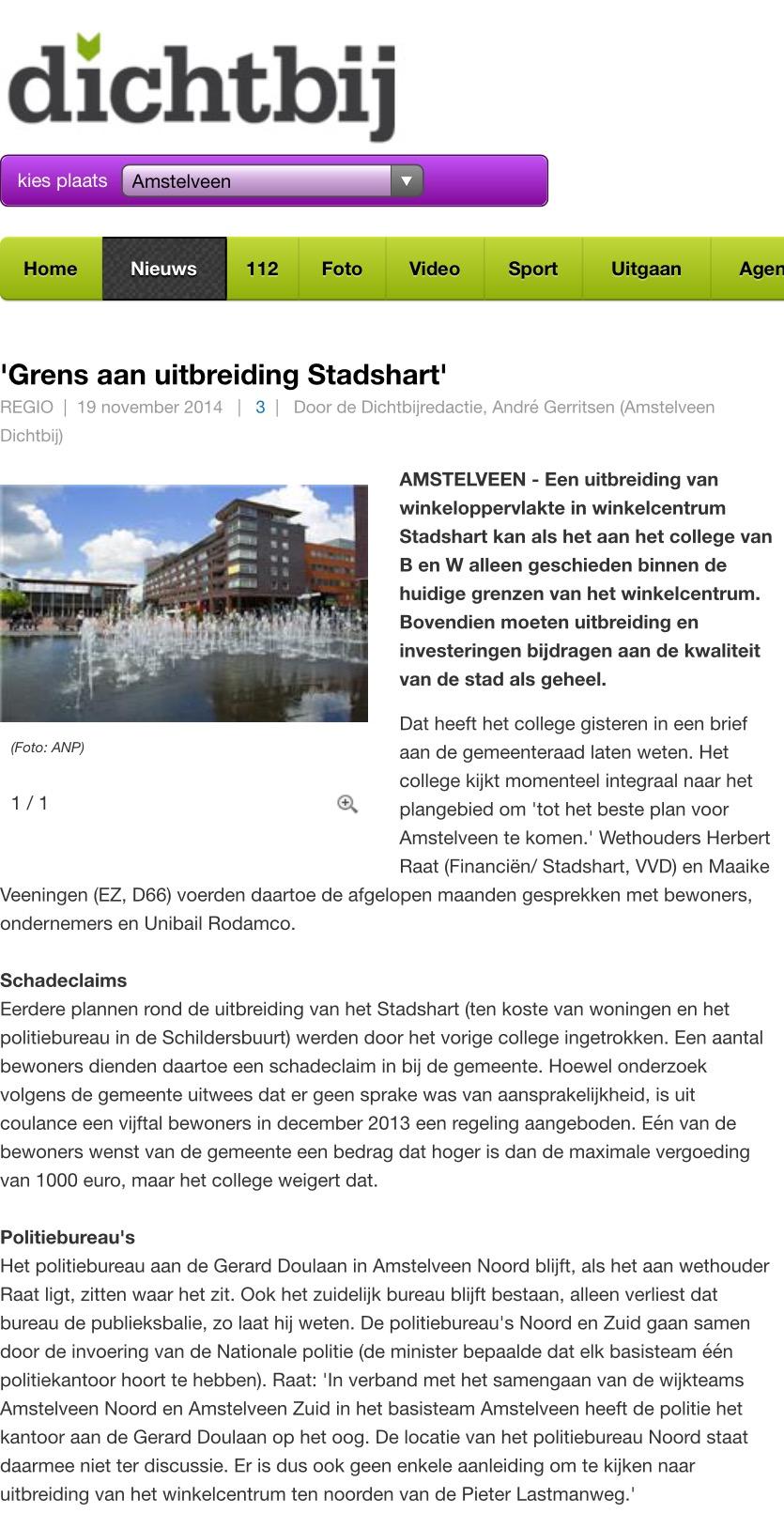 2014-19- 11: Dichtbij: Herbert Raat over grens aan uitbreiding Stadshart Amstelveen