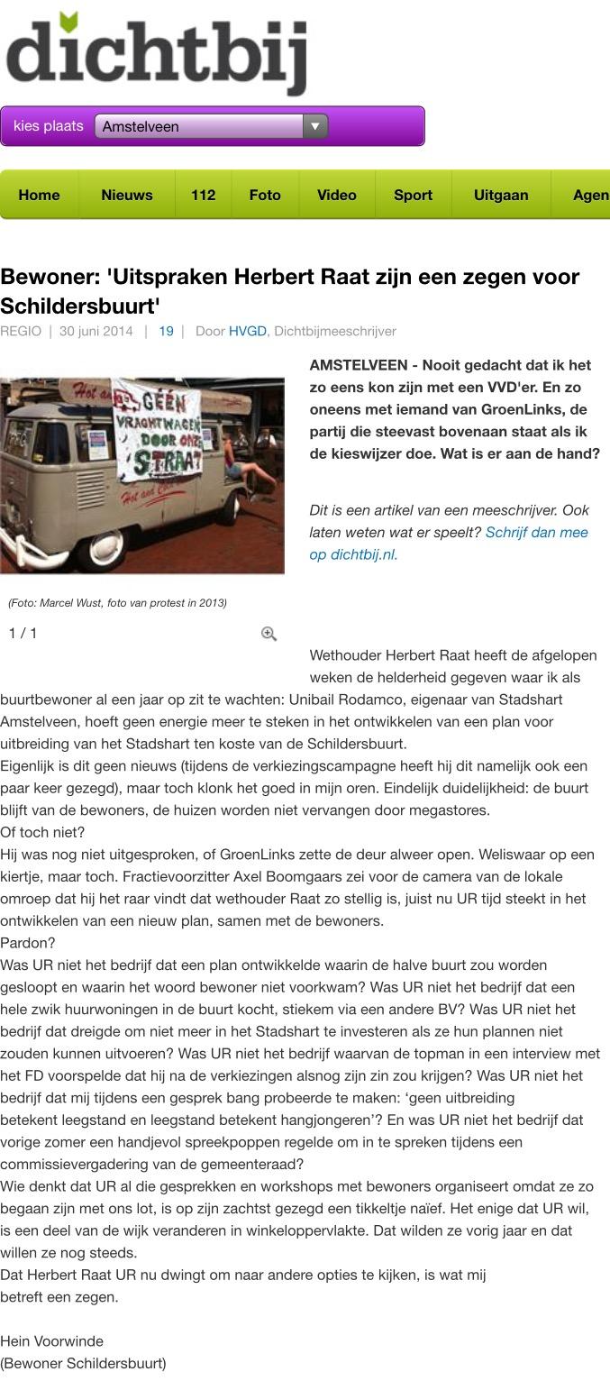 2014-30-6 AmstelveenDichtbij: Hein Voorwinde over de uitspraken van Herbert Raat over toekomst Stadshart