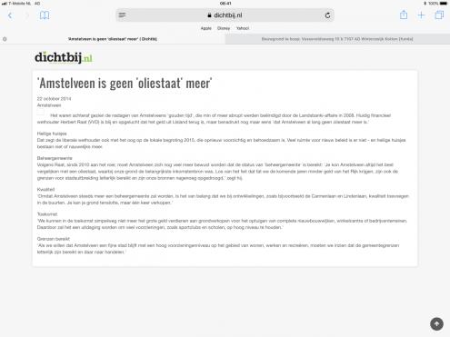 2014-22-10AmstelveenDichtbij; Herbert Raat terugblik landsbanki Amstelveen