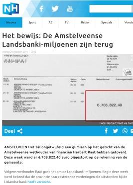 21-10-2014 RTVNH; Herbert Raat over terugkeer miljoenen Amstelveen Landsbanki