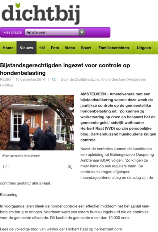 2014-10-12 AmstelveenDichtbij; Herbert Raat over mensen uit de bijstand en aan de slag