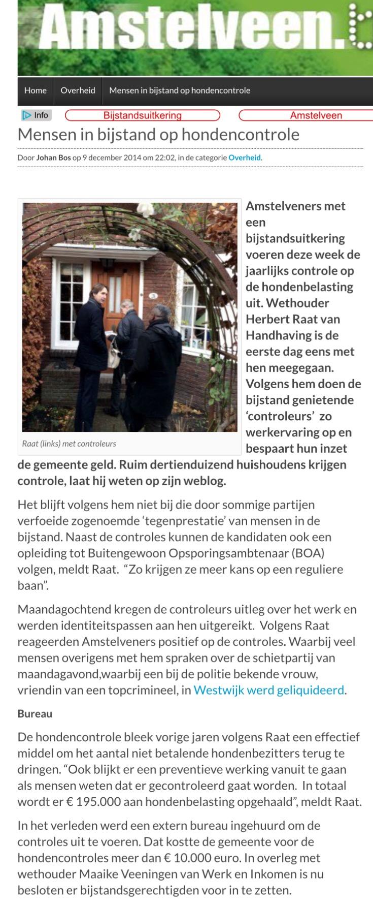 2014-9-12 AmstelveenBlog.nl: mensen in bijstand op hondencontrole