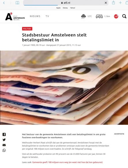 2015-21-1 AT5: wethouder Herbert Raat over een betalingslimiet in Amstelveen om financiele flaters te voorkomen als in Amsterdam