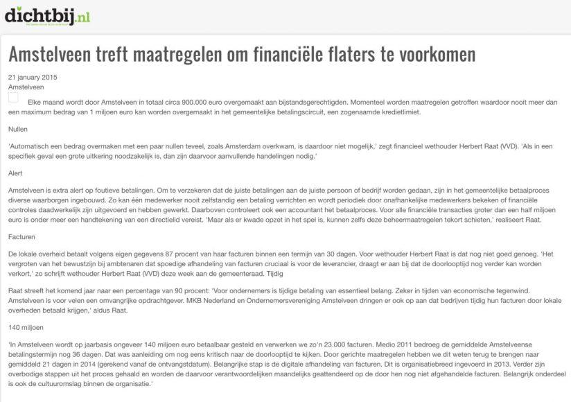 2015-21-1 Dichtbij.nl: wethouder Herbert Raat over een betalingslimiet om financiele flaters te voorkomen als in Amsterdam