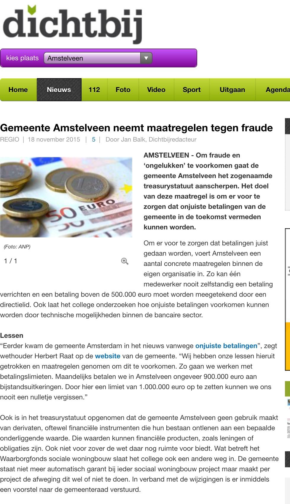 2018-18-11 AmstelveenDichtbij; Wethouder Herbert Raat over maatregelen tegen financiële fraude
