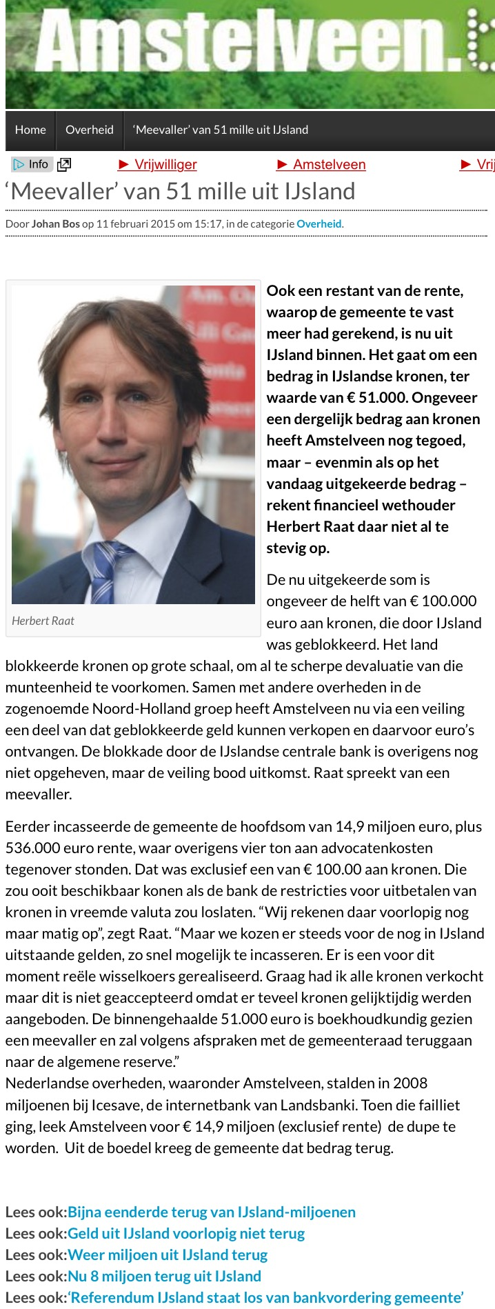 2015-11-2 AmstelveenBlog.nl; Herbert Raat over Landsbanki