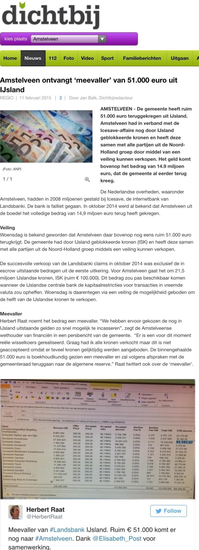 2015-11-2; Dichtbij; Herbert Raat over geld Amstelveen Landsbanki IJsland