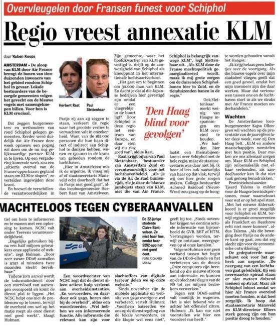 2015-15-2 De Telegraaf; Herbert Raat en Paul Slettenhaar over zorgen positie van KLM