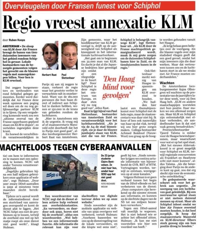 2015-15-2Telegraaf KLM herbert raat paul slettenhaar