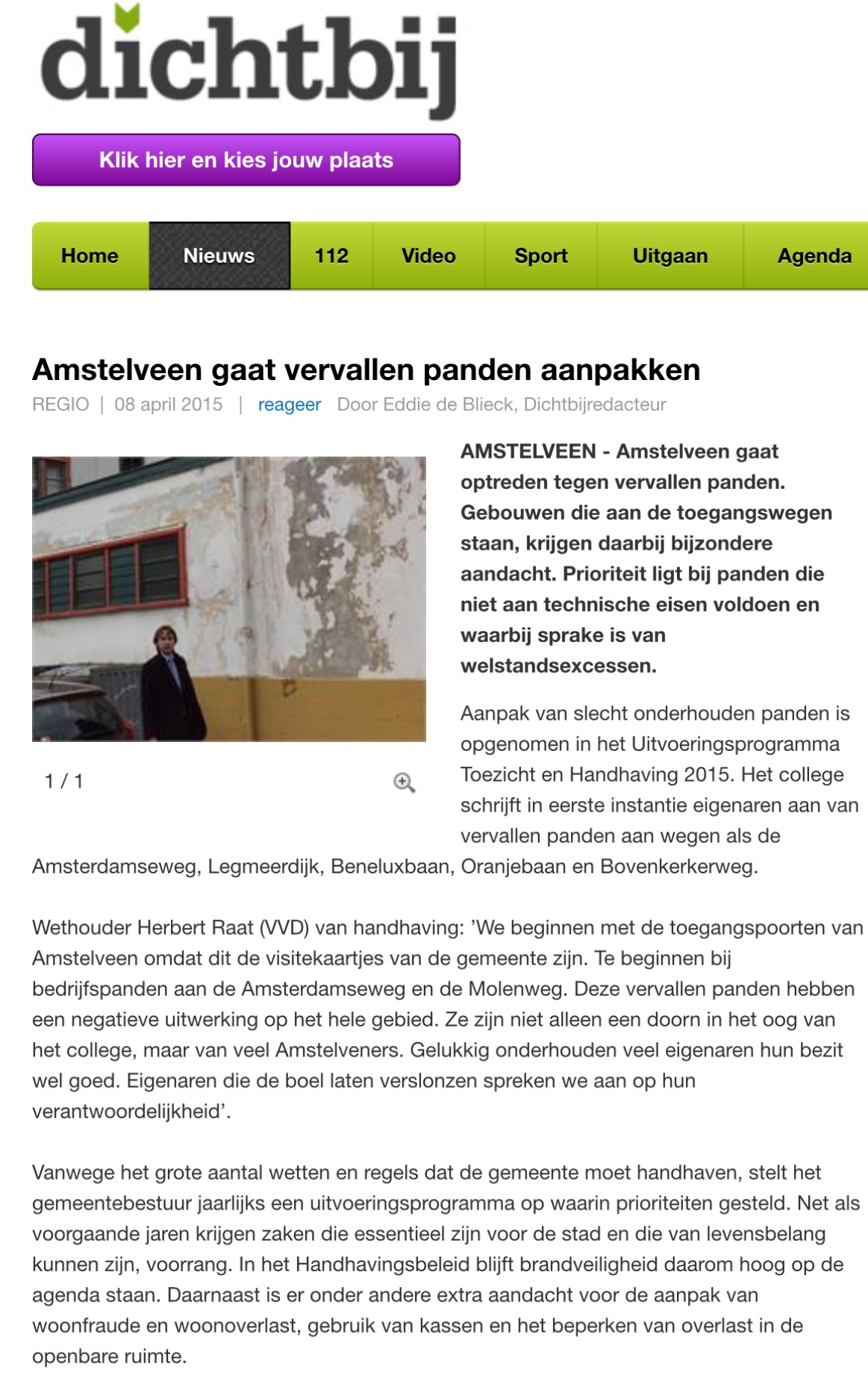 2015- 8 april AmstelveenDichtbij aanpak vervallen panden