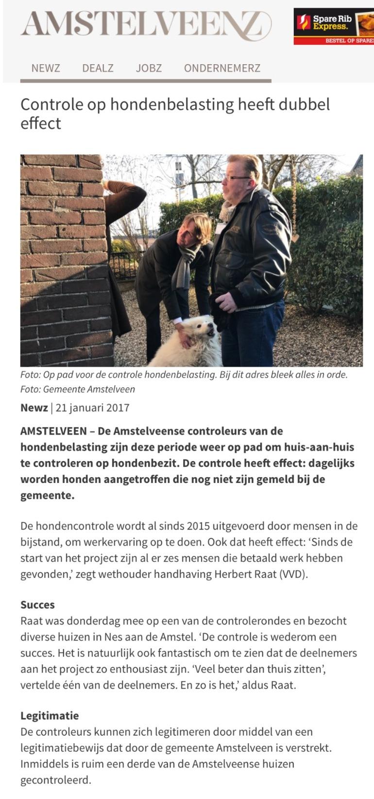 2017-21`-1 Amstelveenz; Herbert Raat over controle hondenbelasting