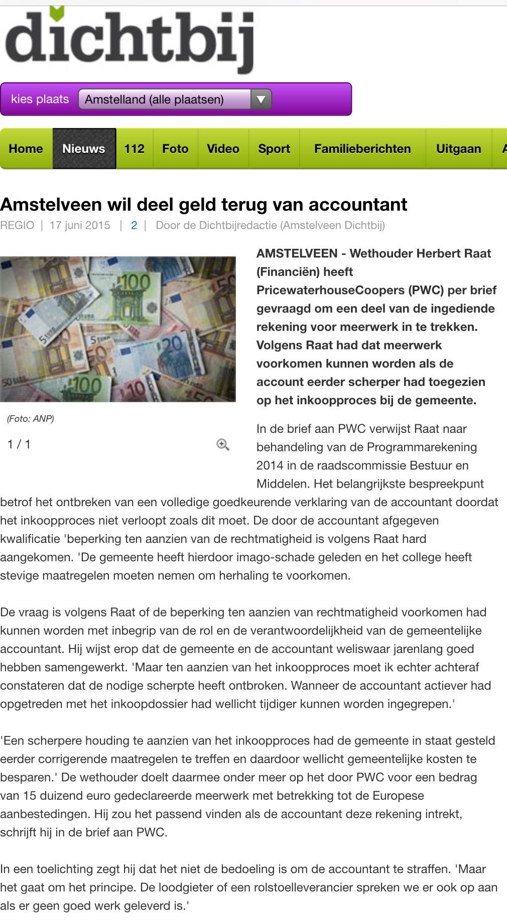 2015 17 JUNI AMSTELVEENDICHTBIJ; Herbert Raat over geld terug van PWC