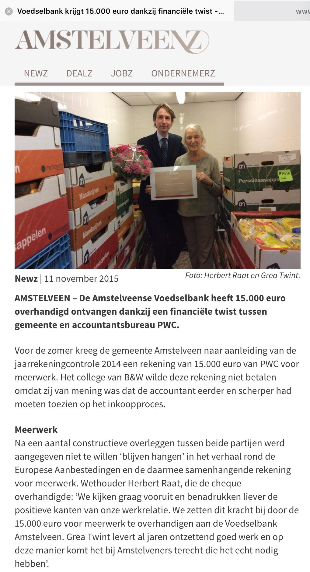 2015-11-11 AmstelveenZ; wethouder Herbert Raat over geld voor de voedselbank van PWC