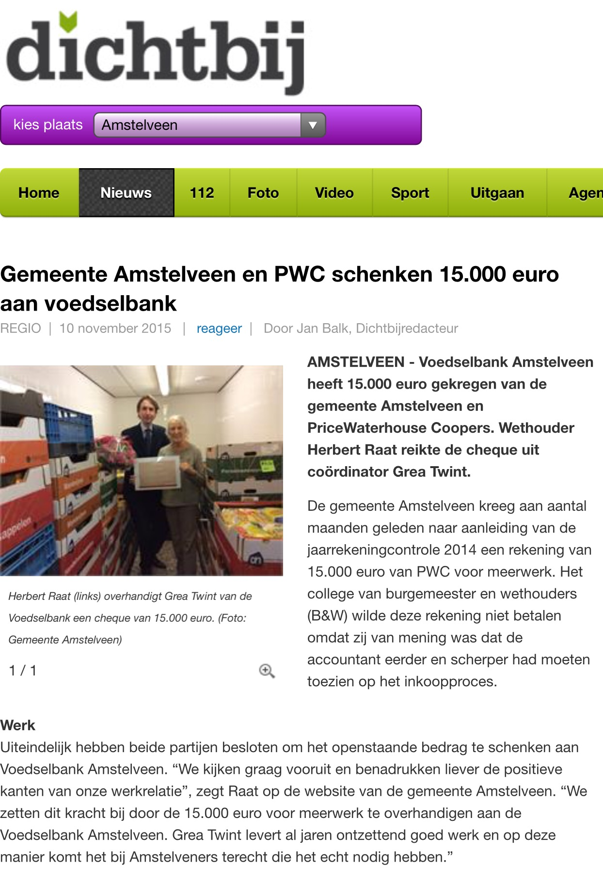 2015-10-11 Dichtbij: wethouder Herbert Raat over geld voor Voedselbank Amstelveen