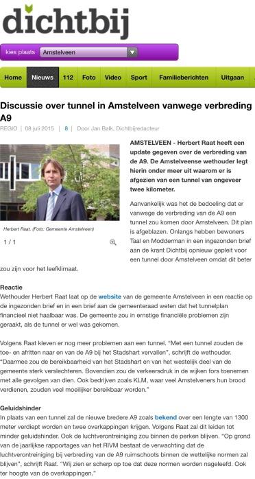 2015-8-juli-amstelveendichtbij-reactie wethouder Herbert Raat waarom tunnelplan niet haalbaar is a9
