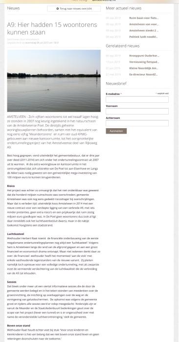2015-8-7: AmstelveenZ; Herbert Raat over het financiële luchtkasteel voor tunnel A9