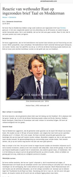 2015-22-7 Amstelveenweb.com A9 reactie Herbert Raat op Taal en Modderman om te lenen