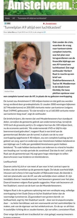 2015-13-7 Amstelveenblog.nl; Herbert Raat over waarom tunnelplan onverstandig is