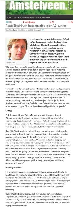 2015-22 juli AmstelveenBlog.nl A9 reactie Herbert Raat op Modderman