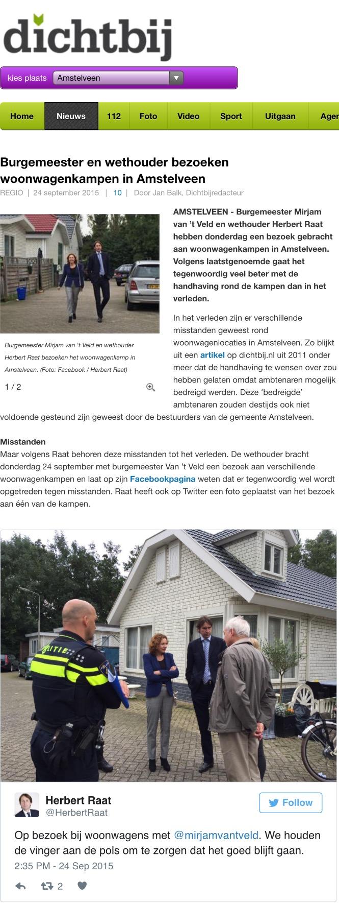 2015-24-9; Amstelveendichtbij: Bezoek burgemeester en wethouder Herbert Raat aan woonwagenkampen