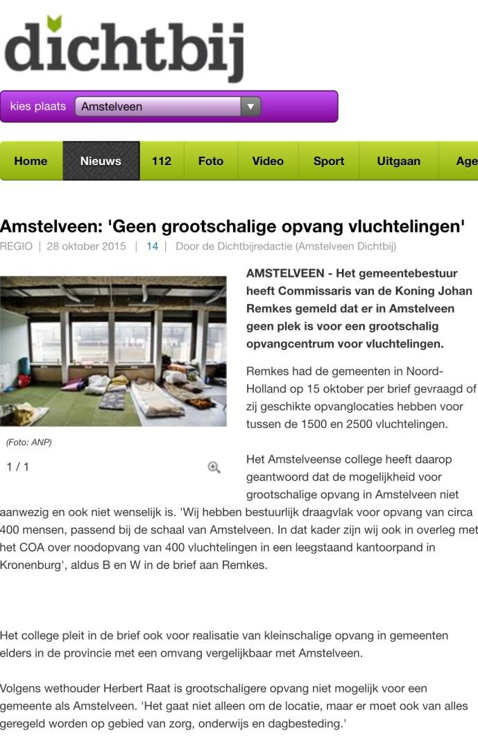 2015-14-10: AmstelveenDichtbij: Herbert Raat over vluchtelingen en opvang in Amstelveen