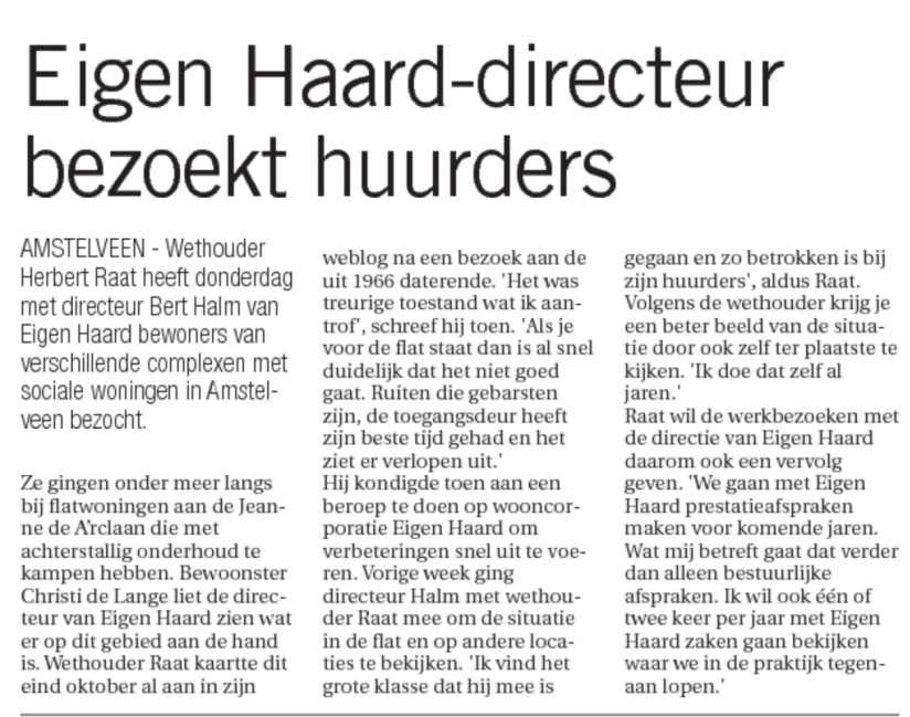 2015-Amstelveens Nieuwsblad: Herbert Raat beroep op Bert Halm Eigen Haard