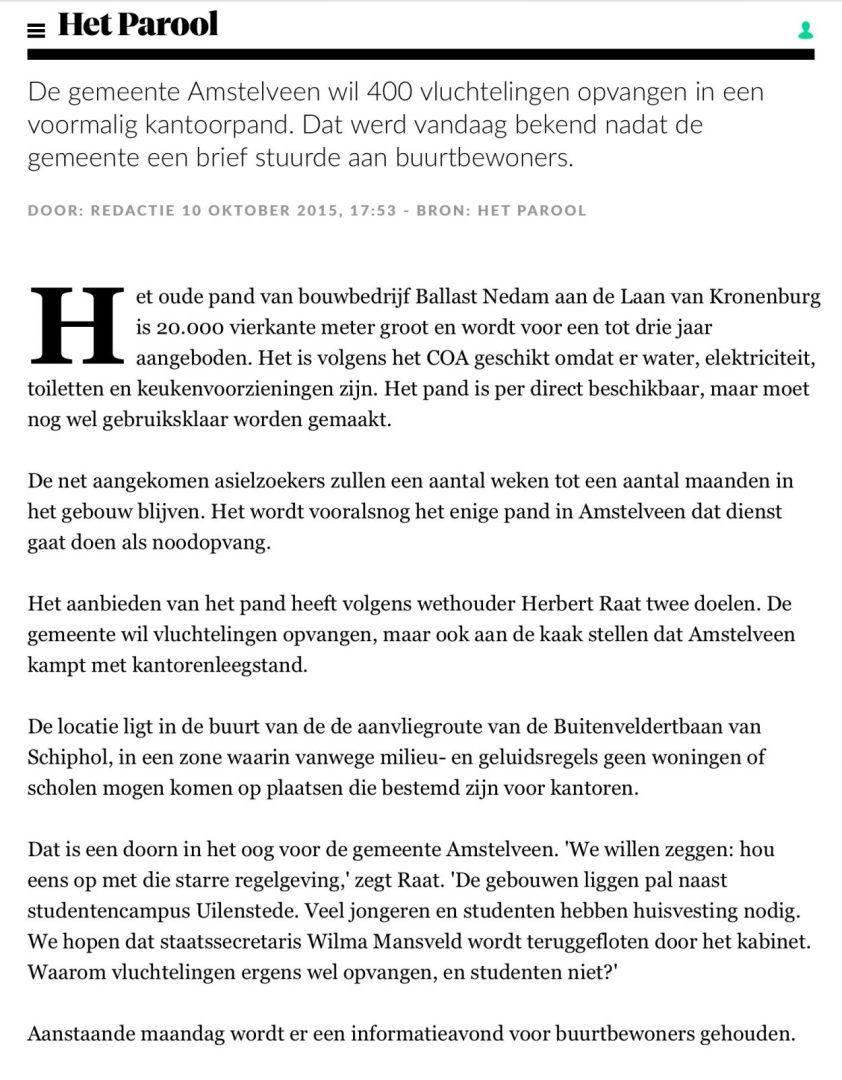 2015-10-10; Het Parool: Herbert Raat over opvang vluchtelingen en Kronenburg Amstelveen