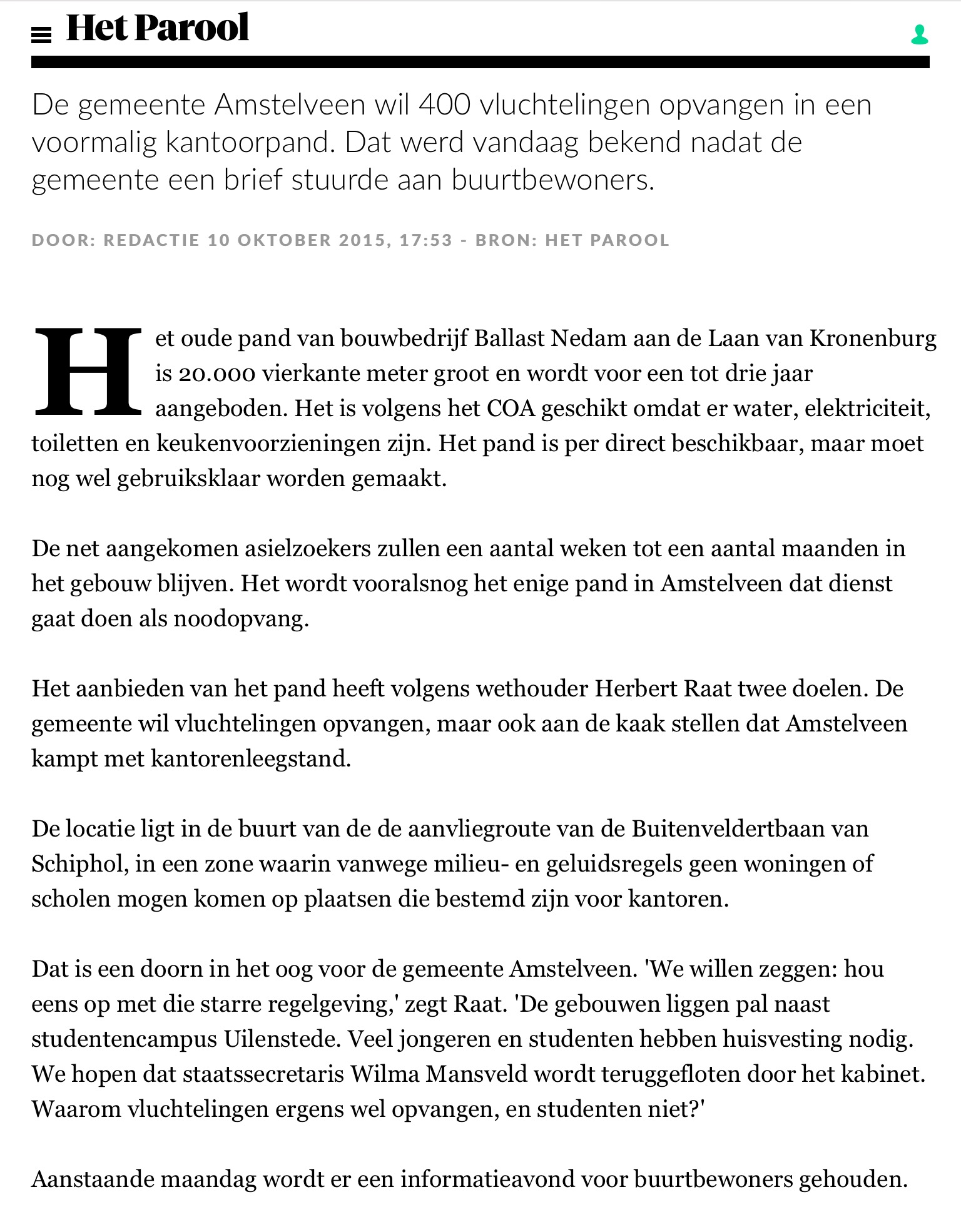 2016-10 oktober het Parool over opvang 400 vluchtelingen in Amstelveen