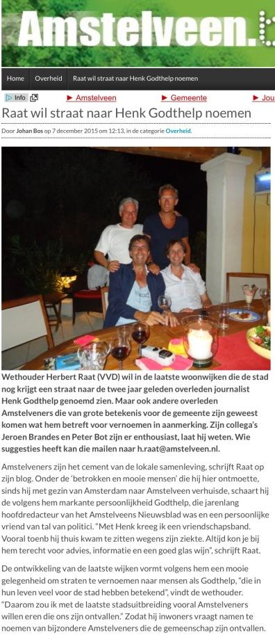 2015-7-5 AmstelveenBlog.nl; Herbert Raat over straatnamen voor bekende en betekenisvolle Amstelveners