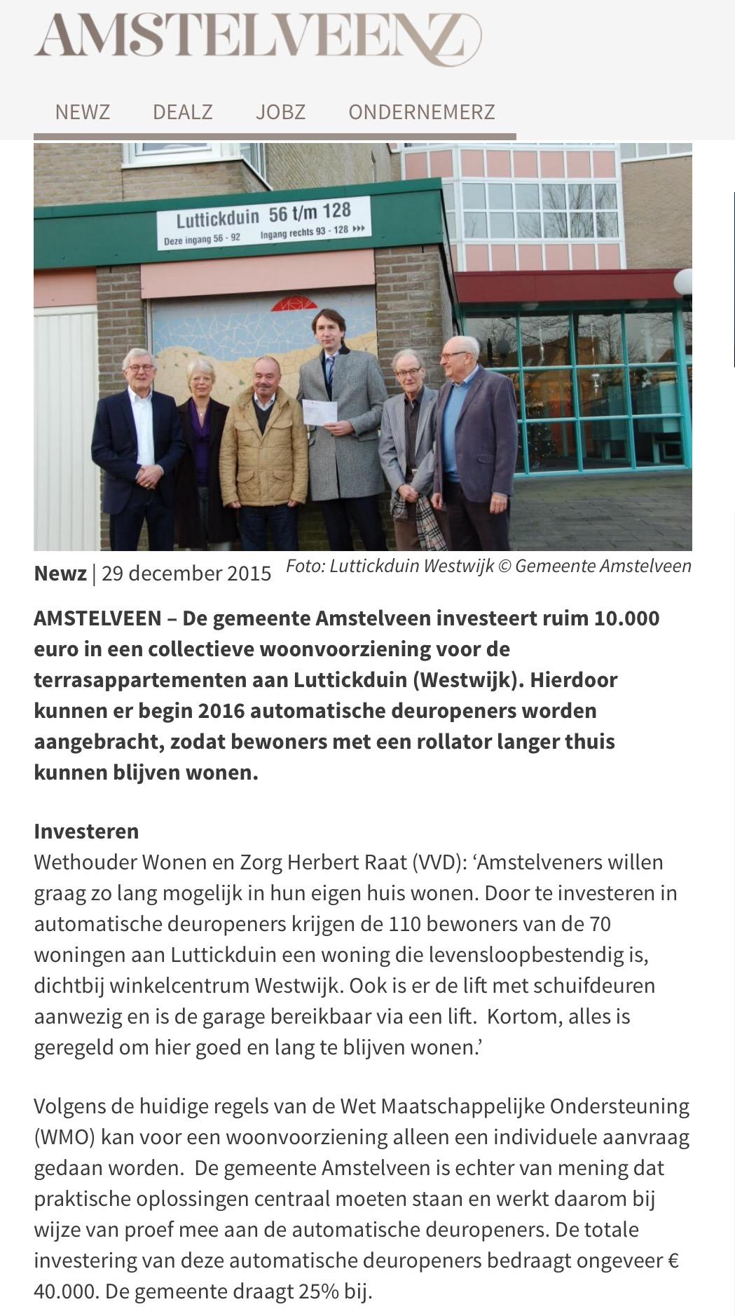 2015-29-12 AmstelveenZ; Herbert Raat over deuropeners voor Luttckduin