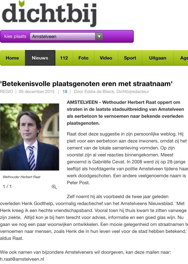 2015-9-5 Amstelveen Dichtbij; Herbert Raat over straatnamen voor bekende en betekenisvolle Amstelveners