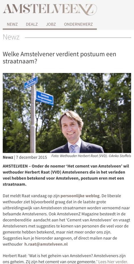 2015-7-5 AmstelveenZ; Herbert Raat over straatnamen voor bekende en betekenisvolle Amstelveners