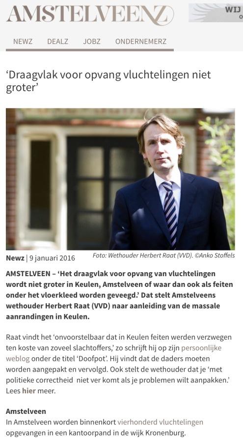 2016 artikel in AMSTELVEENZ; Wethouder Herbert Raat over het wangedrag en de doofpot in Keulen en het draagvlag voor opvang vluchtelingen