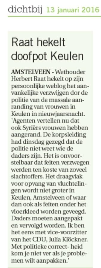 2013-13 -1 Artikel in AmstelveenDichtbij. Wethouder Herbert Raat over doofpot Keulen