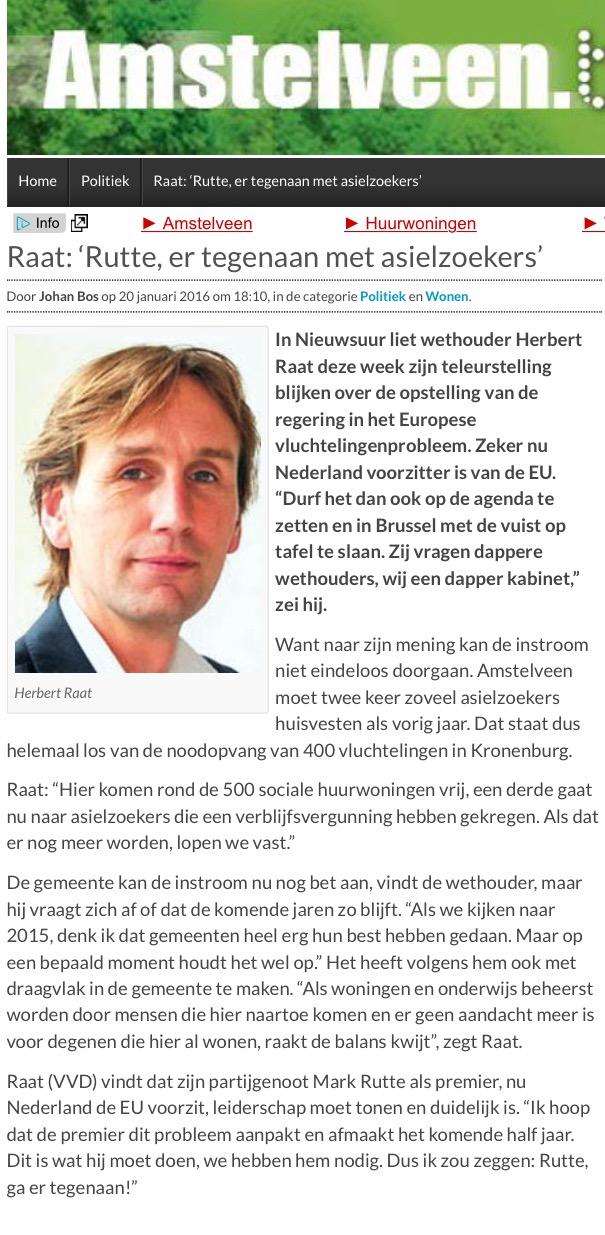2016-20-1 AmstelveenBlog.nl; Herbert Raat over toename asielzoekers