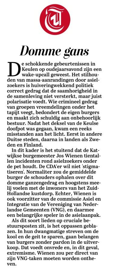 2016-24-1 De Telegraaf commentaar over burgemeester Jos Wienen (CDA) Katwijk