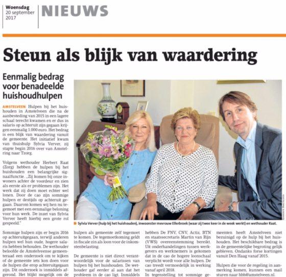 2017-20-9 Amstelveens Nieuwsblad: Herbert Raat over 1000 euro voor huishoudhulpen
