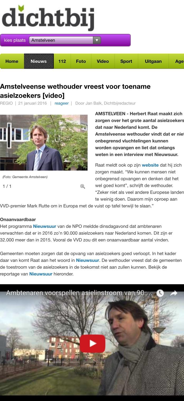 2016-21-1 AmstelveenDichtbij; wethouder Herbert Raat over toename asielzoekers