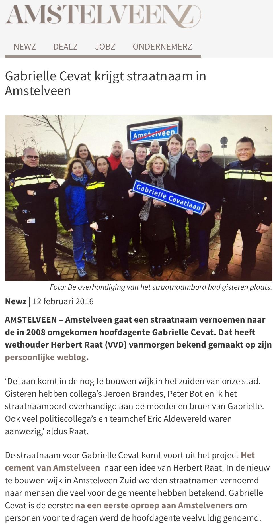 2016-12 -februari AmstelveenZ; Herbert Raat over straatnaam voor Gabrielle Cevat