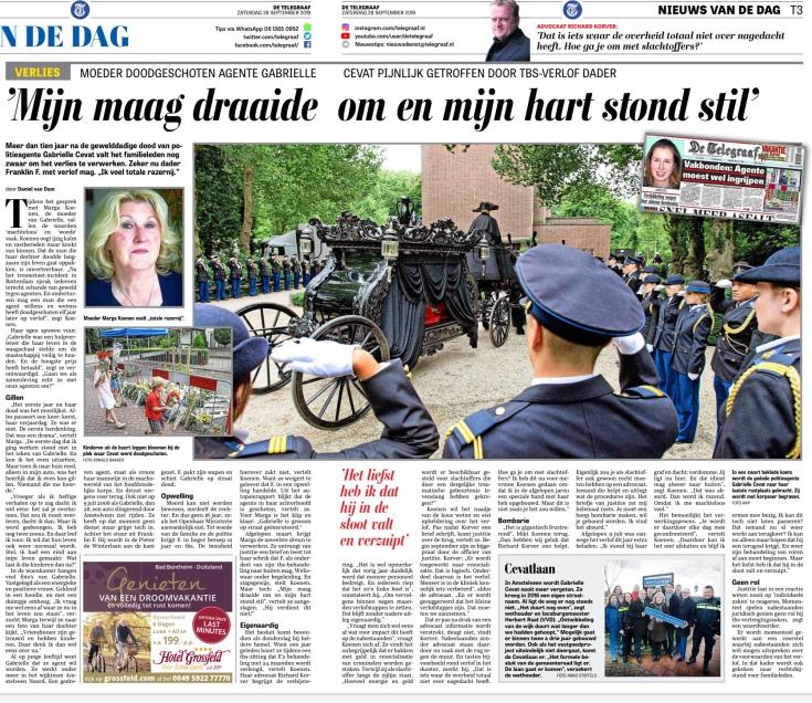 2019-28-9; Telegraaf; over proefverlof van de moordenaar van Gabrielle Cevat en Herbert Raat over straatnaam in Amstelveen