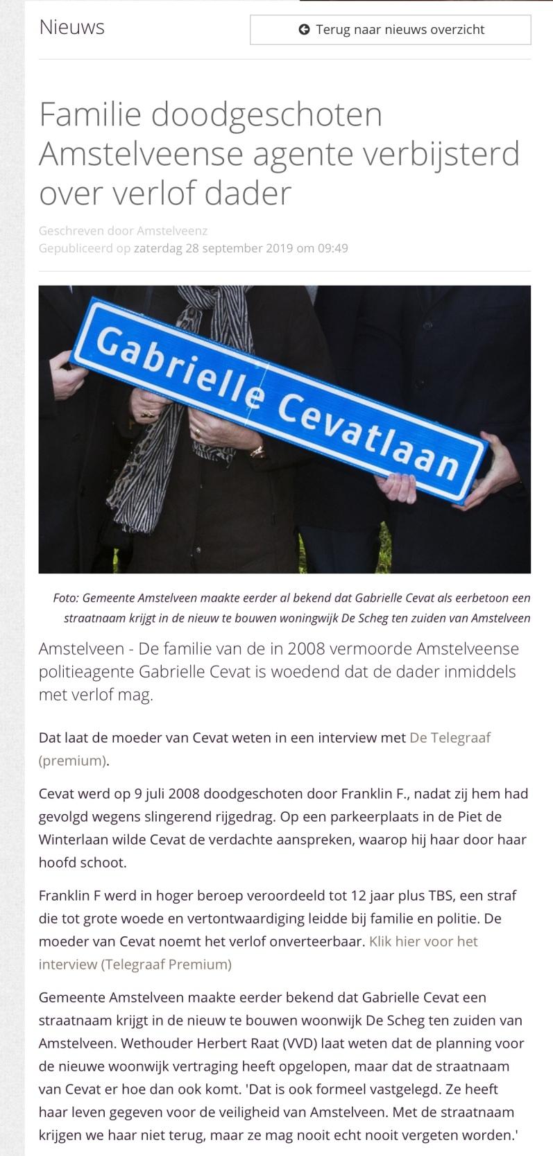 2019-28-9 AmstelveenZ; Herbert Raat over straatnaam Gabrielle Cevat