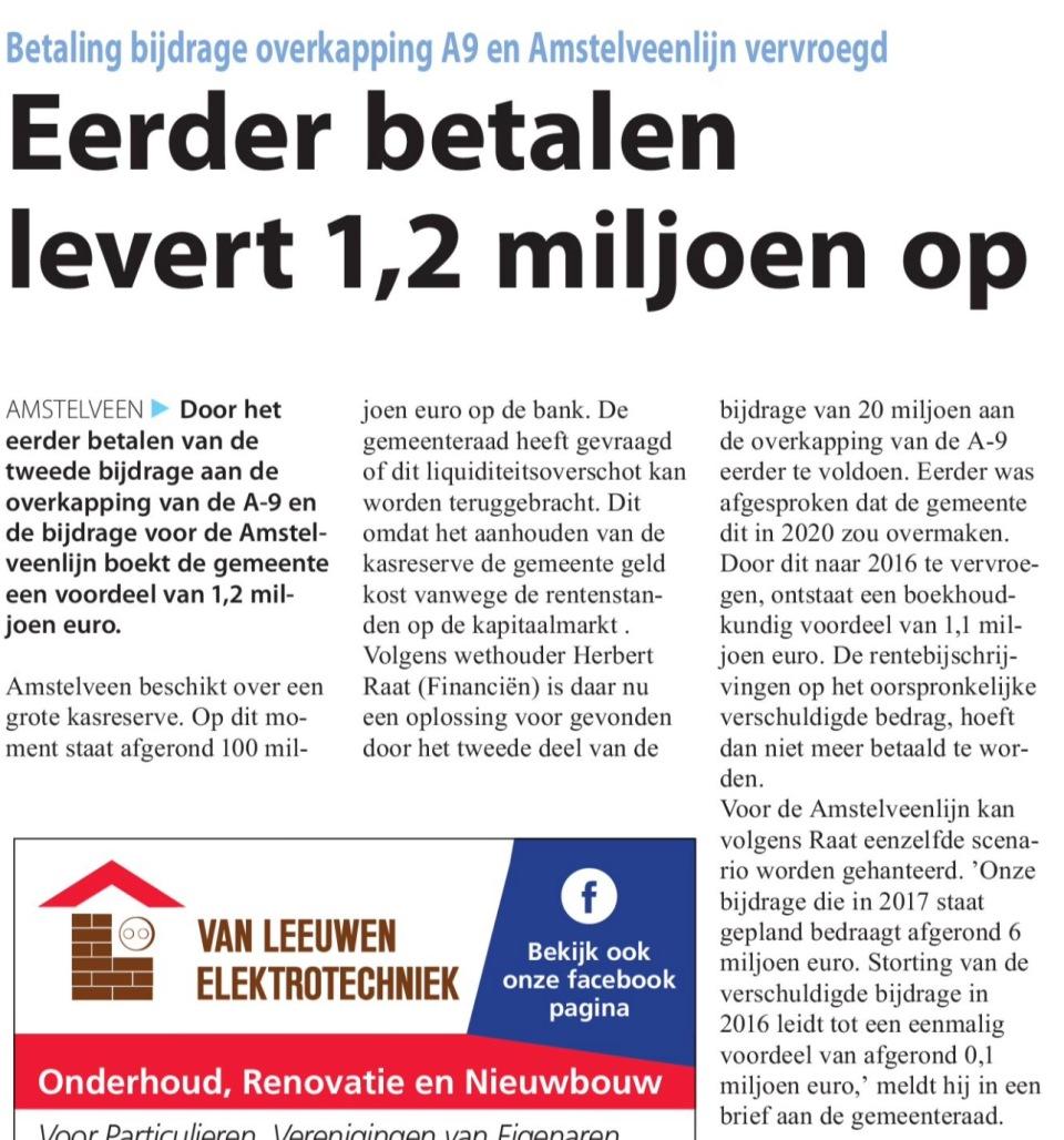 2016-7-9 Amstelveens Nieuwsblad; wethouder Herbert Raat over eerder betalen A9 levert geld op